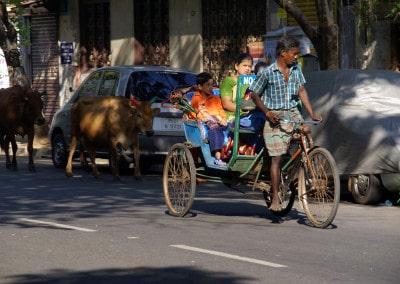 Encore de nos jours, on trouve des cyclo-rickshaw à Pondichery
