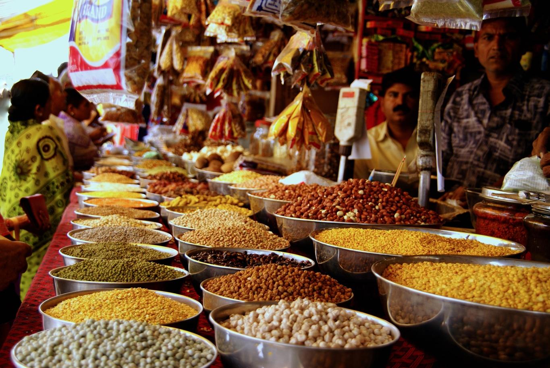 Légumes secs au marché de Bijapur