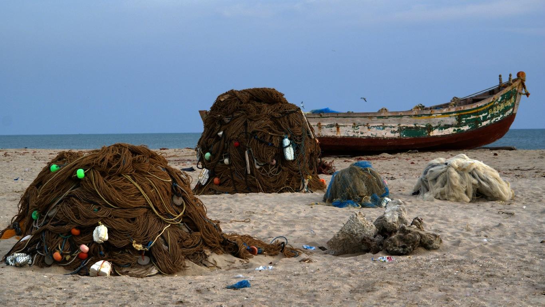 Filets de pêcheurs sur la plage de Rameshwaram (Tamil Nadu)