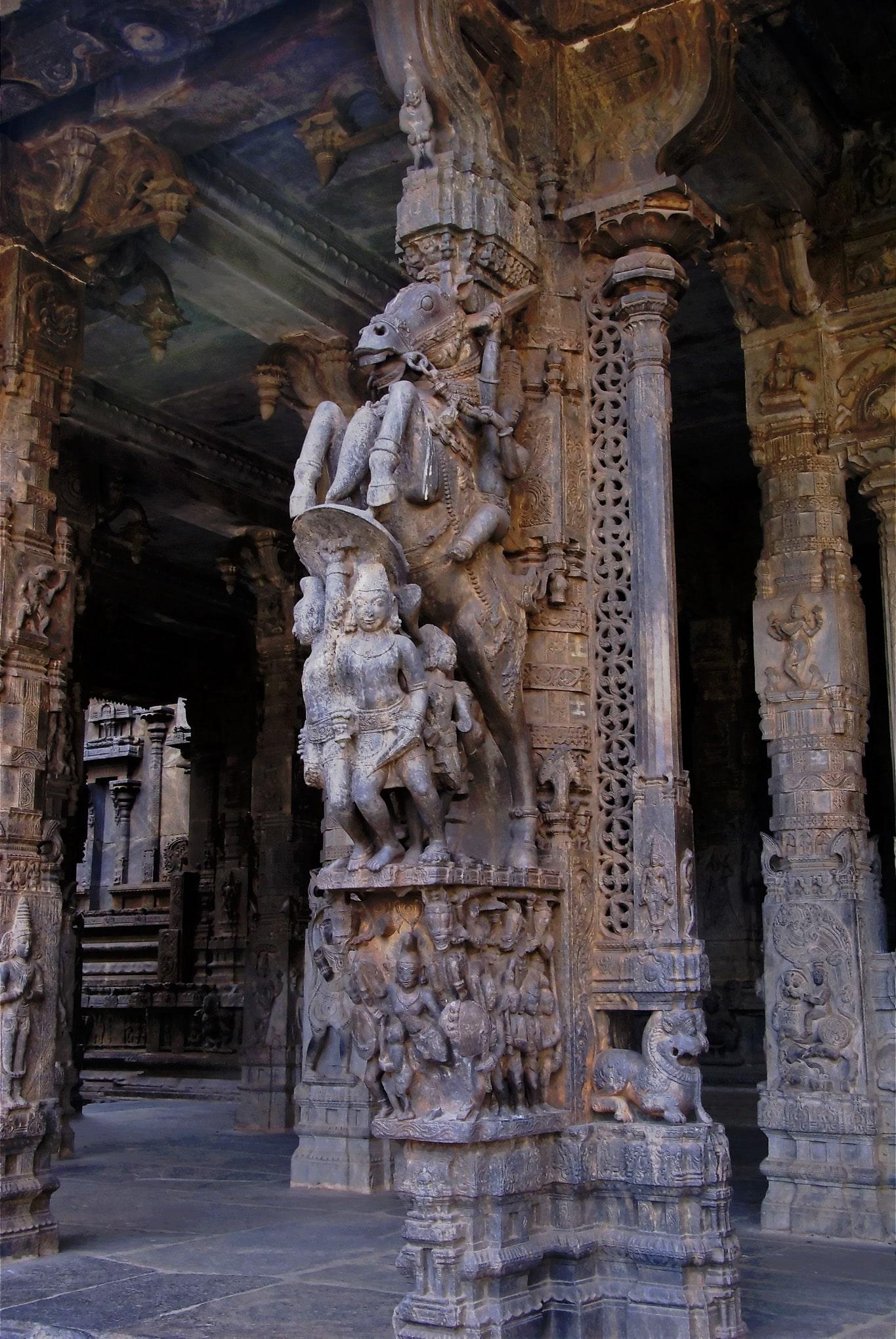 une monture surprenante colonnes sculptées temple de Vellore
