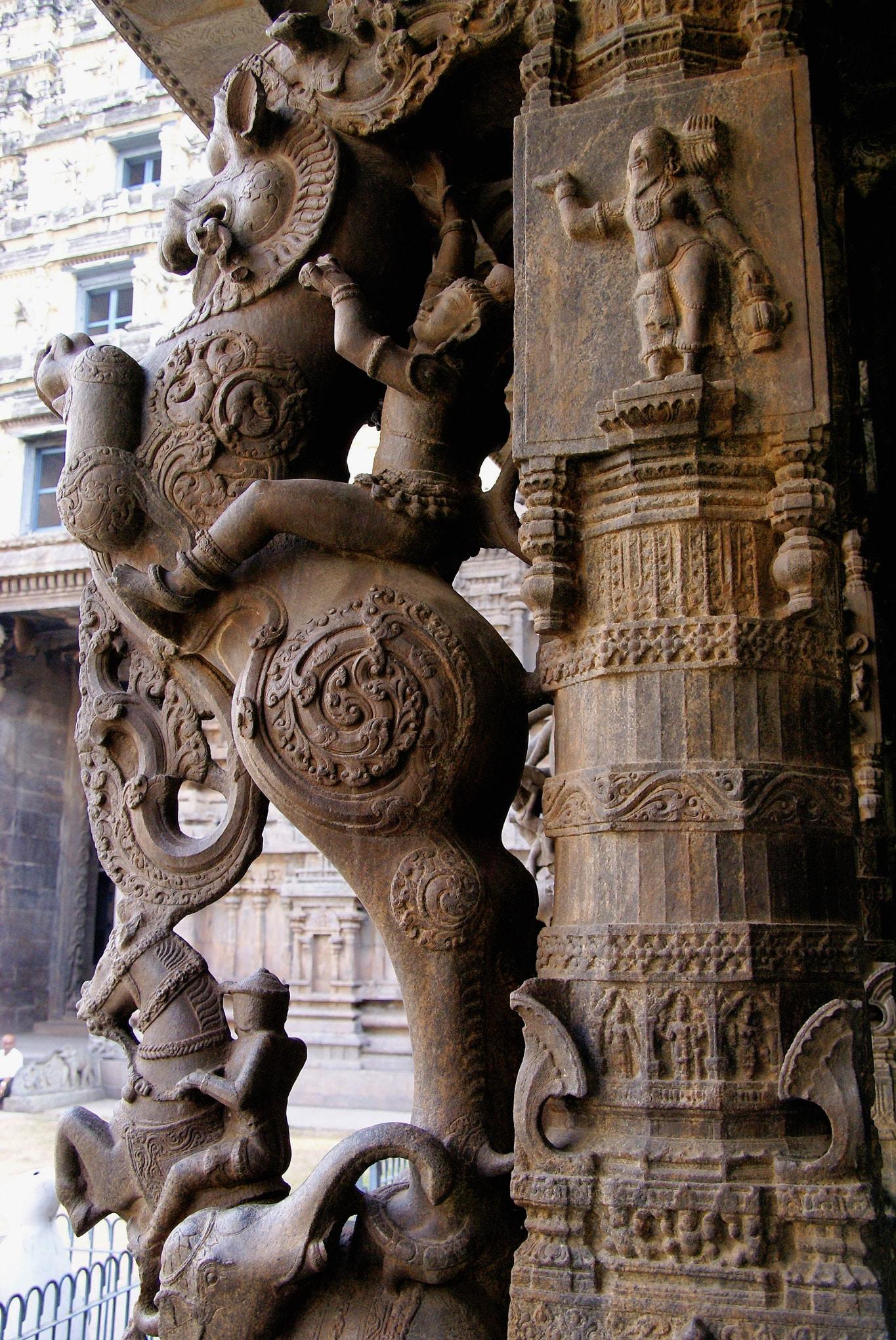 cavalier sur une créature mythologique temple de Vellore