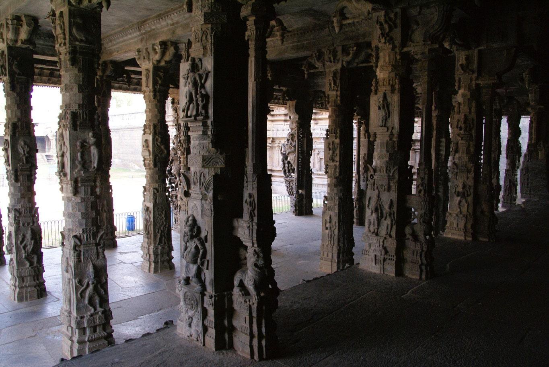 une forêt de colonnes sculptées finement intérieur temple de Vellore